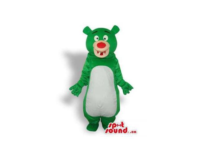 Green Bear Forest Plush Canadian SpotSound Mascot With White Belly And Cute Teeth