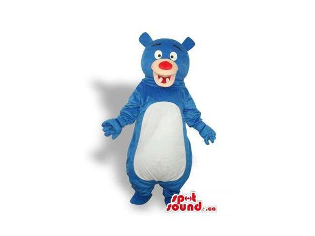 Blue Bear Forest Plush Canadian SpotSound Mascot With White Belly And Cute Teeth