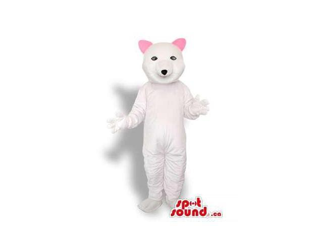 White Cat Plush Animal Canadian SpotSound Mascot With Small Pink Ears