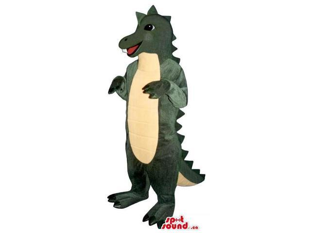 Dark Green Alligator Animal Canadian SpotSound Mascot With A Yellow Belly