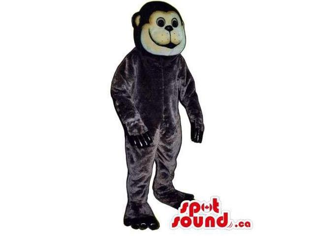 All Black Plush Monkey Animal Canadian SpotSound Mascot With A Round Face