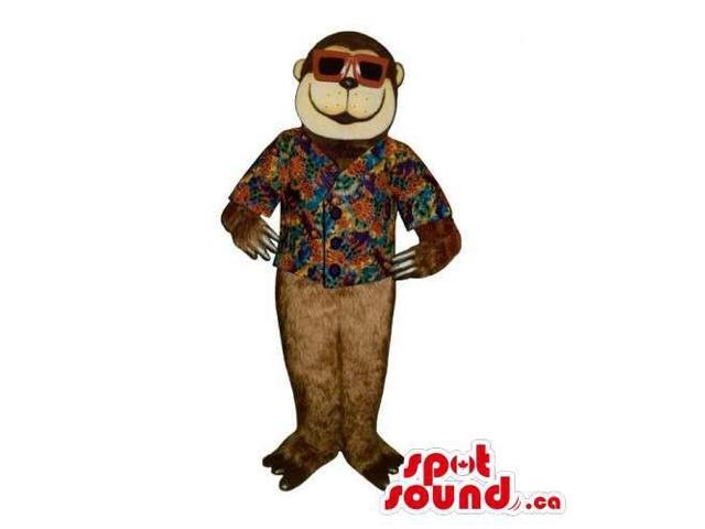 Brown Plush Monkey Canadian SpotSound Mascot Dressed In A Holiday Shirt And Sunglasses