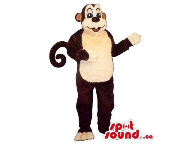 Brown Plush Monkey Animal Canadian SpotSound Mascot With A Curled Tail
