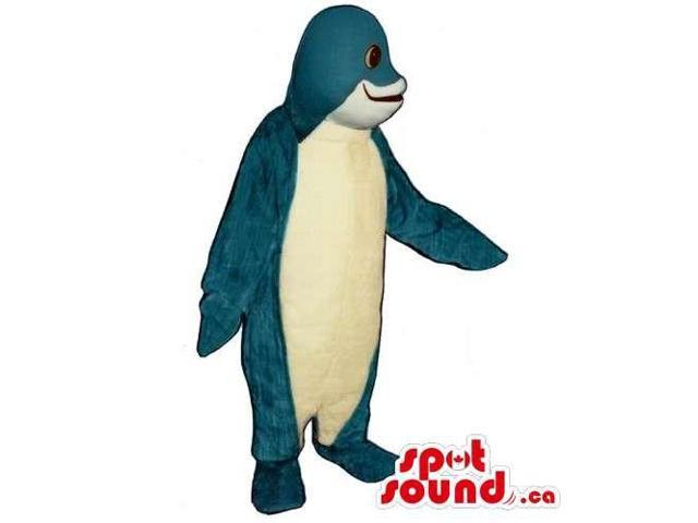 Blue Plush Dolphin Ocean Animal Canadian SpotSound Mascot With A White Belly