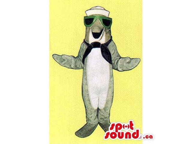 Grey Dolphin Ocean Canadian SpotSound Mascot Dressed In Sailor Hat And Sunglasses