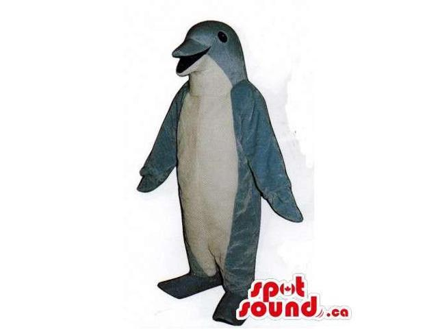 Grey Dolphin Ocean Canadian SpotSound Mascot With A White Belly For Logos