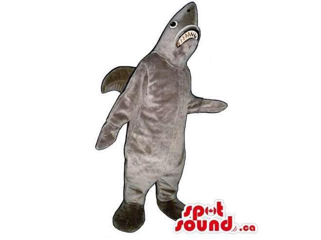 Customised All Grey Plush Shark Canadian SpotSound Mascot With Jaws
