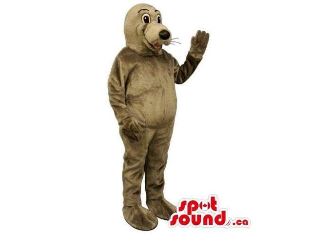 Customised All Brown Plush Seal Animal Canadian SpotSound Mascot
