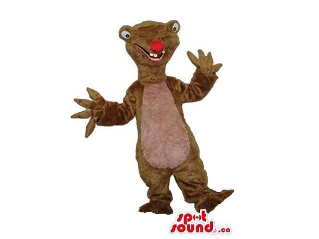 Brown Slit It Sloth Ice Age Cartoon Character Plush Canadian SpotSound Mascot