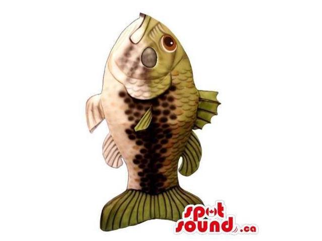 Customised Great Real-Looking Large Beige And Green Fish Canadian SpotSound Mascot