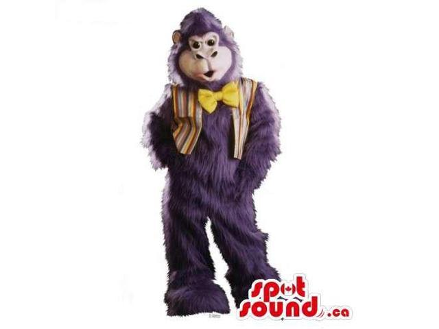 Woolly Purple Monkey Canadian SpotSound Mascot Dressed In A Vest And A Bow Tie