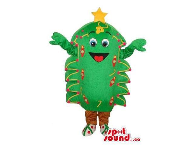 Cute Christmas Tree Plush Canadian SpotSound Mascot With And Decorations