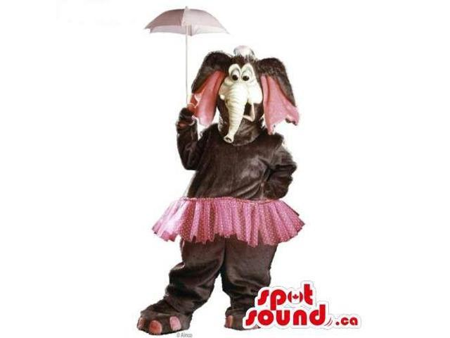 Brown Plush Elephant Canadian SpotSound Mascot Dressed In A Pink Skirt And Umbrella