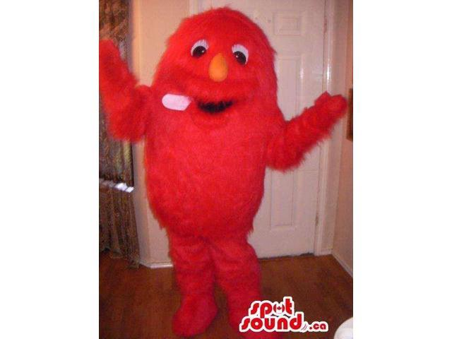 Woolly Red Monster Plush Canadian SpotSound Mascot With An Orange Nose