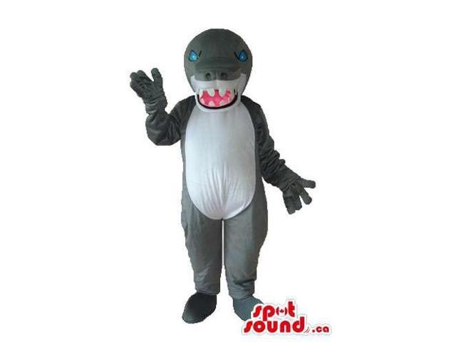 Angry Grey And White Monster Plush Canadian SpotSound Mascot With Sharp Jaws
