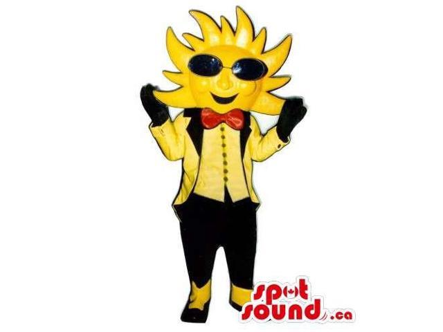 Customised Sun Canadian SpotSound Mascot Dressed In Sunglasses And A Bow Tie
