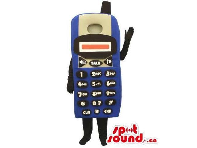 Customised Blue And Black Cellphone Canadian SpotSound Mascot Without A Face