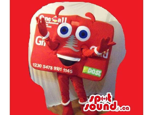 Red Credit Card Plush Canadian SpotSound Mascot With Logo And Peculiar Face