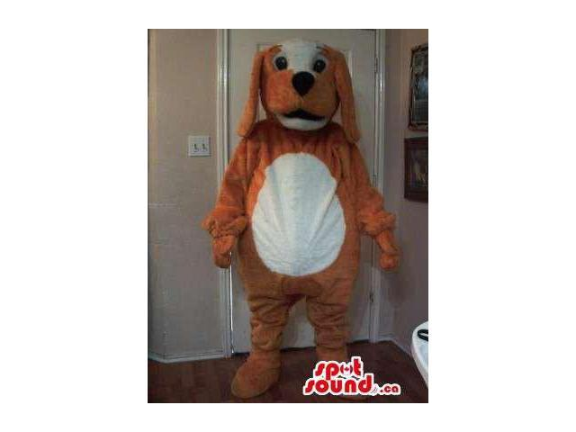 Brown Dog Plush Canadian SpotSound Mascot With A Round White Belly And Face