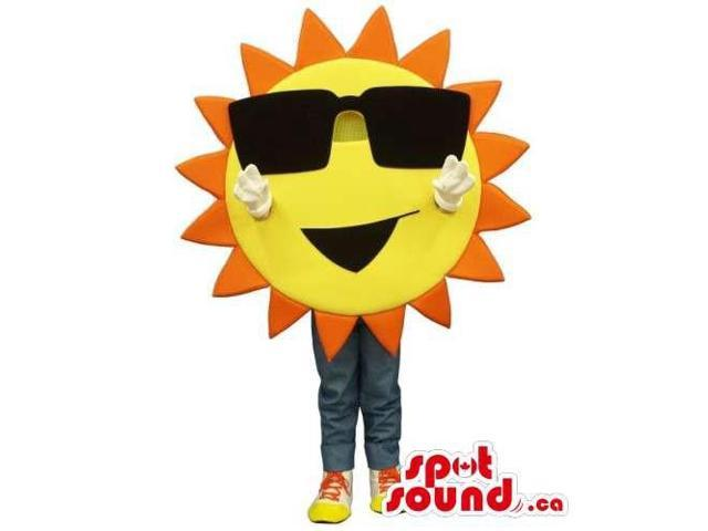 Customised Large Bright Sun Canadian SpotSound Mascot Dressed In Sunglasses