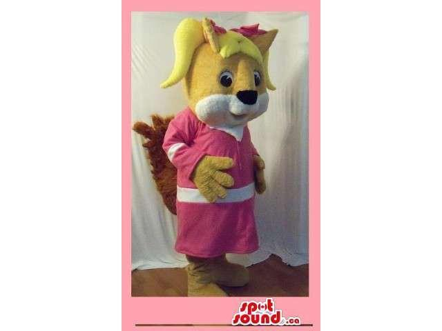 Blond Hair Brown Girl Squirrel Animal Plush Canadian SpotSound Mascot With A Dress