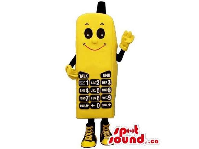 Yellow And Black Cellphone Canadian SpotSound Mascot With A Smiling Face
