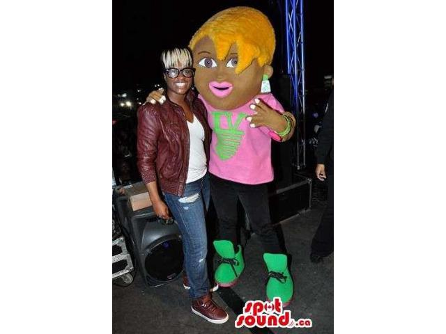 Cool Blond Girl Character Canadian SpotSound Mascot Dressed In Pink And Black Clothes