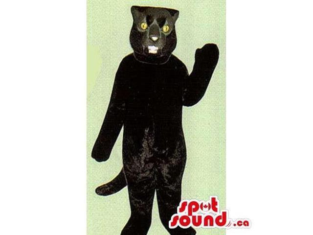 Customised Black Plush Panther Canadian SpotSound Mascot With Yellow Eyes