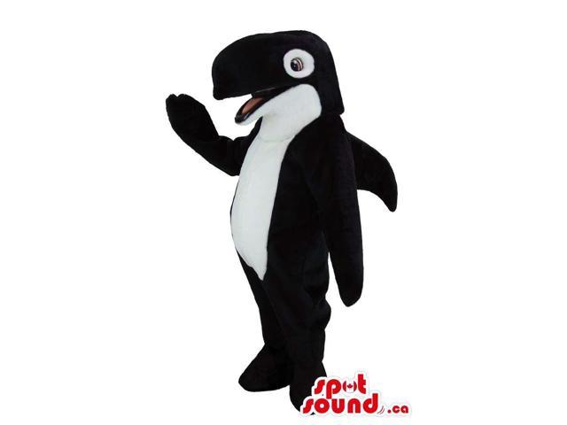 Customised Black And White Orca Animal Canadian SpotSound Mascot With Happy Face