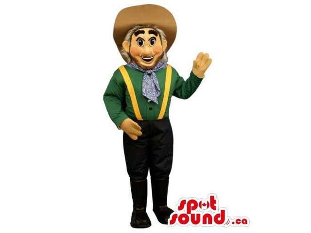 Customised Cowboy Human Canadian SpotSound Mascot With Special Clothes