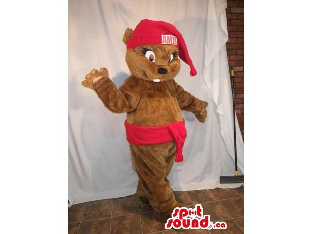 Brown Chipmunk Animal Canadian SpotSound Mascot Dressed In A Red Hat And Belt