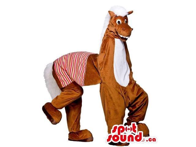 Brown Donkey Plush Canadian SpotSound Mascot On All-Fours Or People Costume