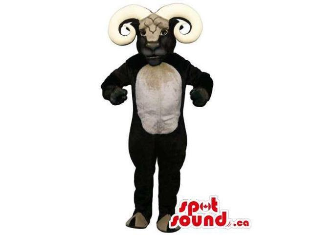Black Goat Animal Canadian SpotSound Mascot With Great Huge Horns And A Belly