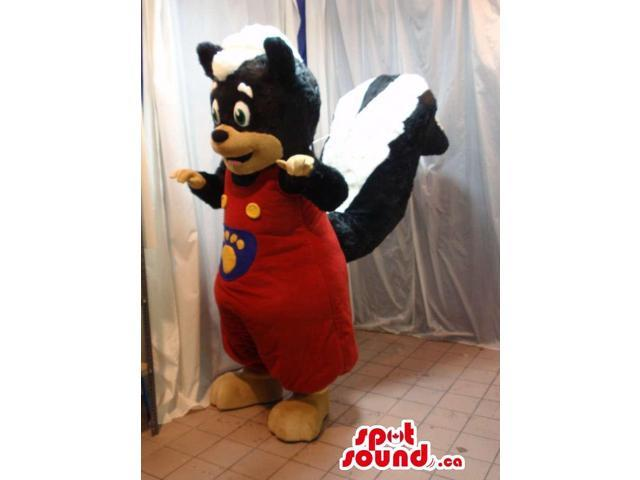 Black And White Skunk Animal Canadian SpotSound Mascot Dressed In Overalls With A Logo