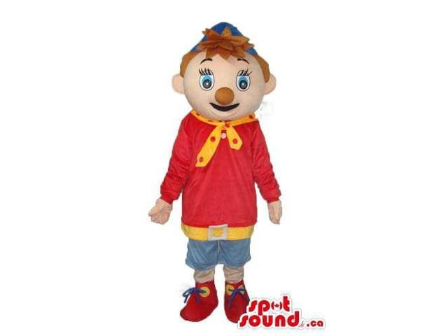 Red And Blue Clown Boy Canadian SpotSound Mascot With Brown Nose And A Cap