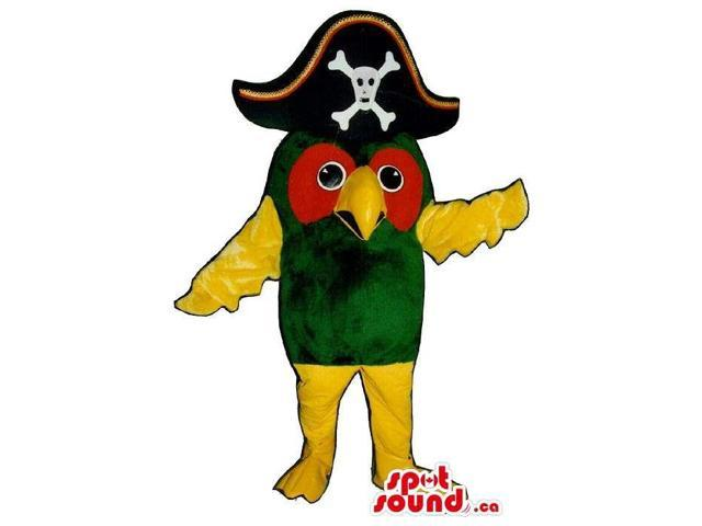 Cute Green Parrot Plush Canadian SpotSound Mascot Dressed In A Pirate Hat