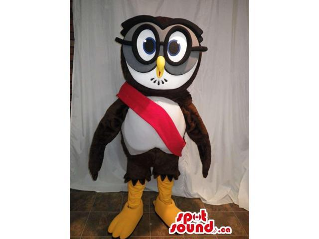 Brown And White Owl Bird Canadian SpotSound Mascot Dressed In Large Glasses