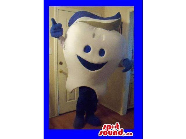 Customised White Tooth Canadian SpotSound Mascot With Blue Toothpaste