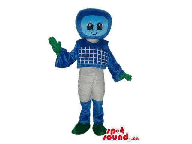 Cute Blue Computer Canadian SpotSound Mascot With White Pants And Green Gloves