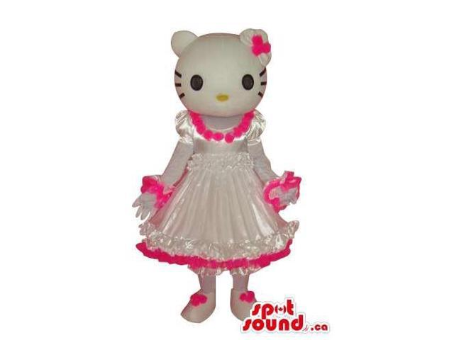 Kitty Character Plush Canadian SpotSound Mascot Dressed In A White And Pink Dress