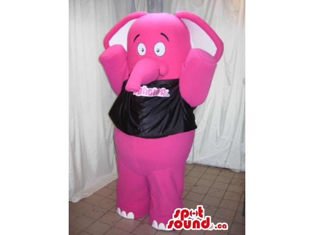 Pink Elephant Animal Canadian SpotSound Mascot Dressed In A Black T-Shirt