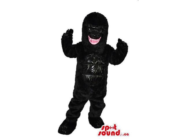 All Black Angry Gorilla Plush Canadian SpotSound Mascot Showing Its Jaws