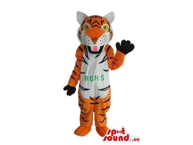 Orange Tiger Plush Canadian SpotSound Mascot With A White Belly And Text