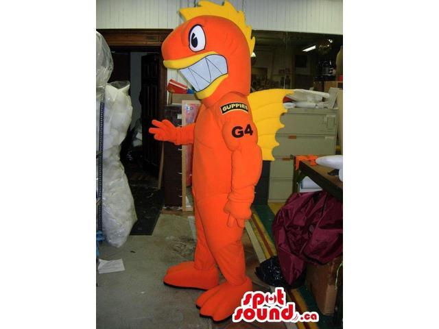 Orange And Yellow Fish Canadian SpotSound Mascot With Large Teeth And Logos