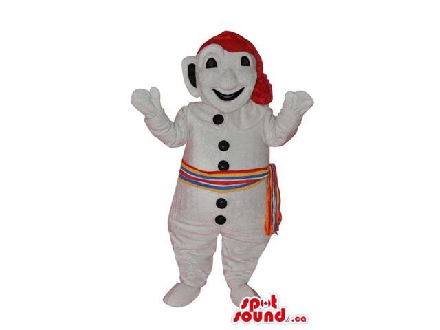 Snowman Canadian SpotSound Mascot Dressed In A Red Hat And Colourful Sash