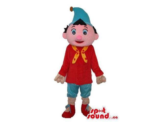 Cute Boy Plush Canadian SpotSound Mascot Dressed In A Red T-Shirt And Blue Pointy Hat