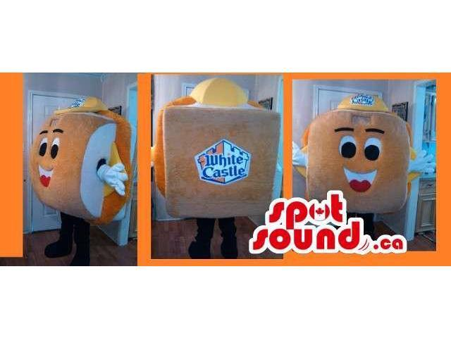 Cartoon Cheese Sandwich Food Canadian SpotSound Mascot Dressed In A Yellow Cap