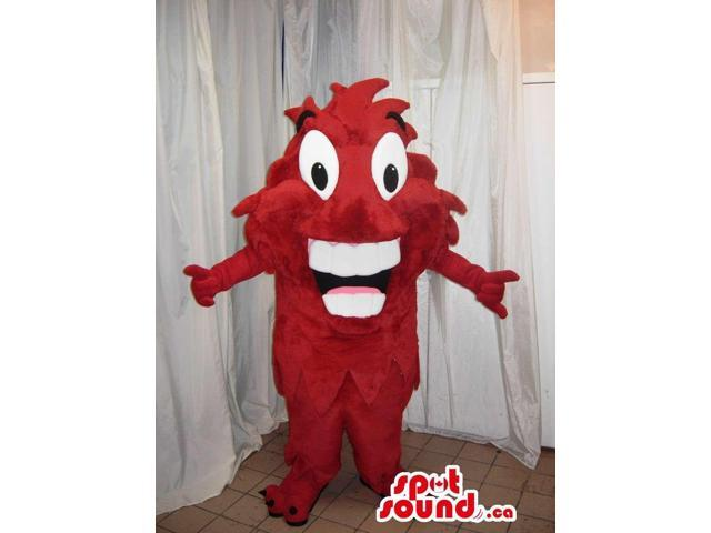 Red Peculiar Creature Canadian SpotSound Mascot With Large Teeth And Wide Eyes