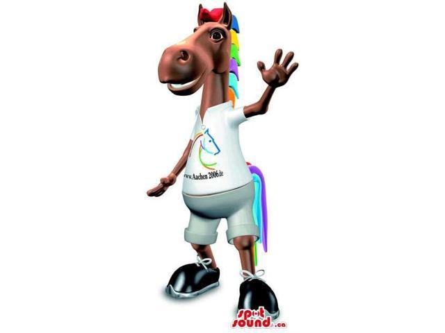 Brown Horse Canadian SpotSound Mascot With Colourful Hair And Customised T-Shirt