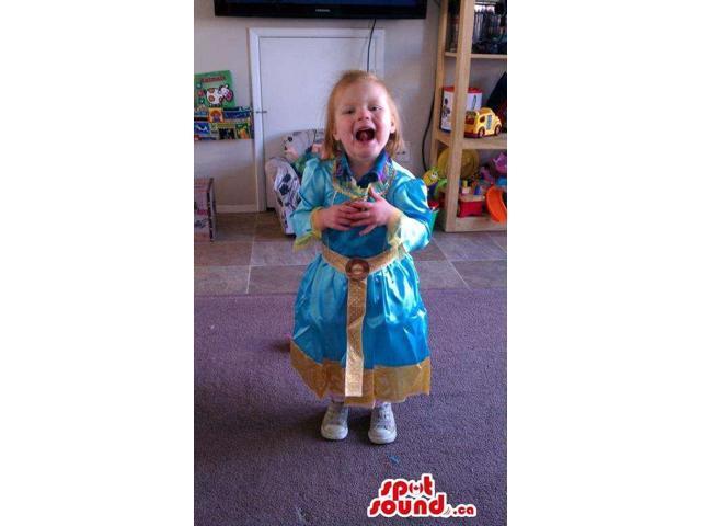 Cute Blue And Golden Princess Dress Children Size Costume